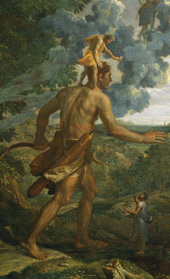 Detail of Cedalion standing on the shoulders of Orion by Nicolas Poussin